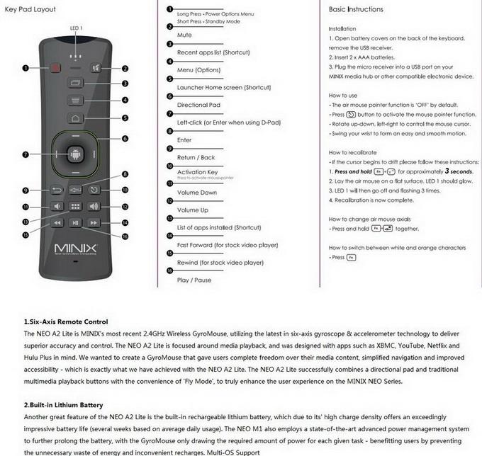 minix a2 lite user manual