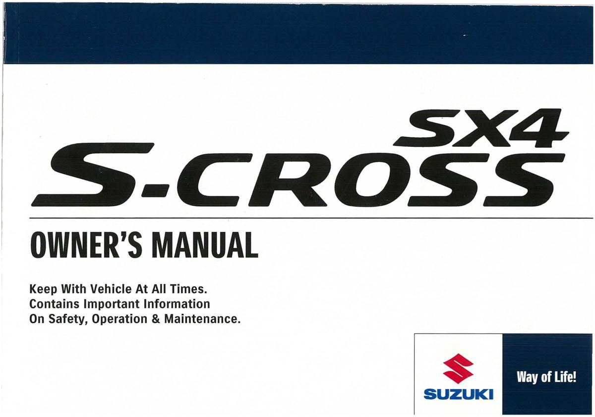 2012 suzuki sx4 owners manual pdf