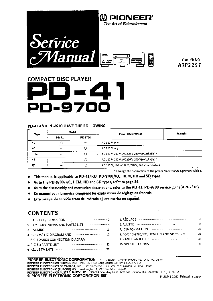 pioneer pd-4700 service manual