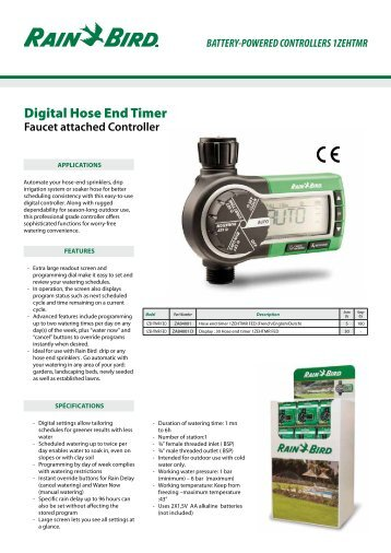 manual rainbird timer e 9
