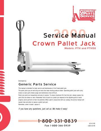 crown electric pallet jack service manual