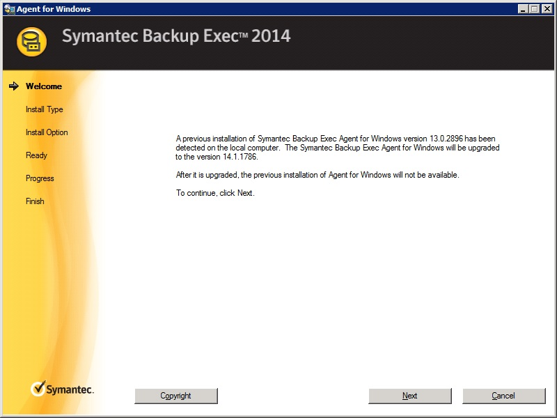 install backup exec remote agent manually