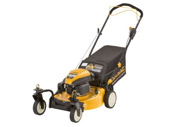 self-propelled gas lawn mower 163cc 21 yellow manual