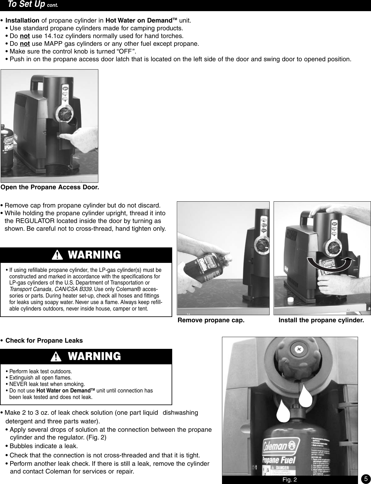 coleman on demand hot water heater manual